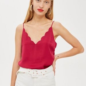 Topshop scallop trim cami camisole tank top pink
